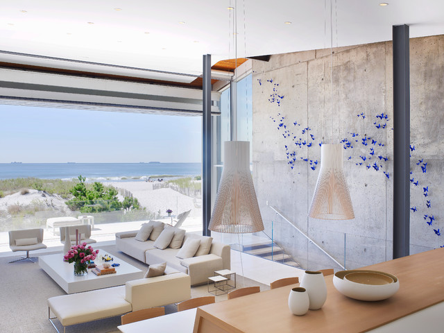 Beach House On Long Island Modern Living Room