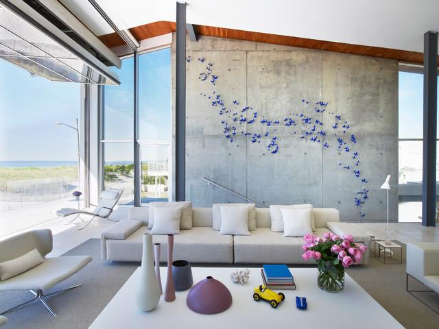 contemporary open concept living room idea in new york