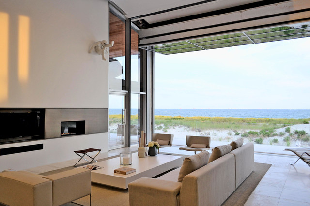 Beach House on Long Island - Beach Style - Living Room - New York - by West Chin Architects ...