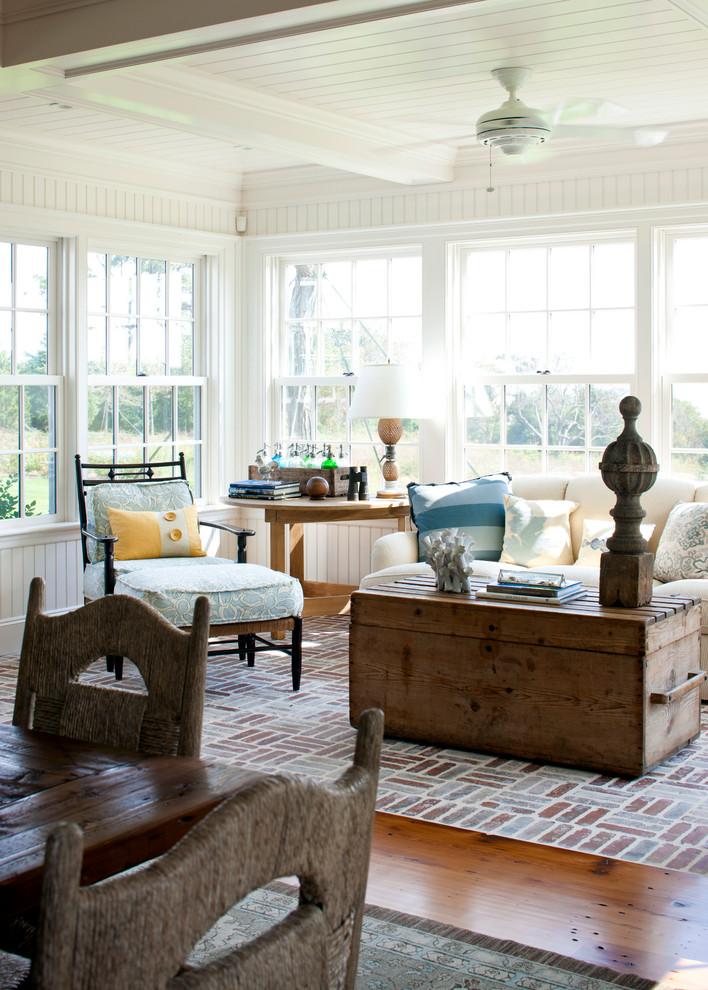Living room - coastal living room idea in Boston