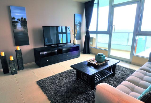 Beachfront Condo Design Tropical Living Room Toronto by