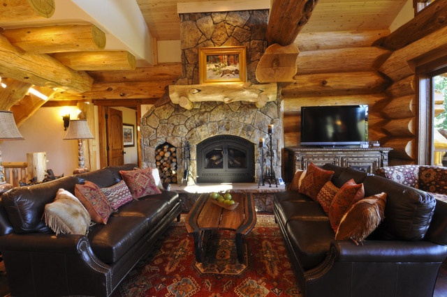 Bear Creek Cabin Rustic Living Room Denver By Mountain Log Homes Interiors