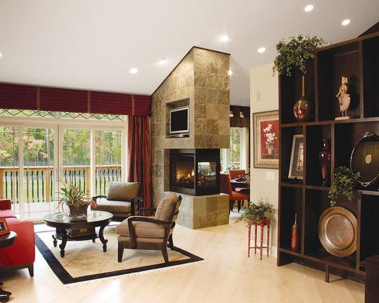 Three Side Peninsula Gas Fireplace Home Design Ideas