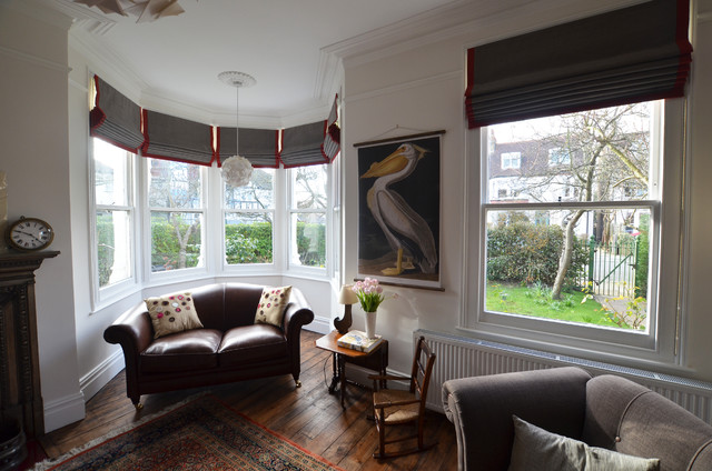 Beautiful bay window curtains and blinds - Victorian - Living Room ...