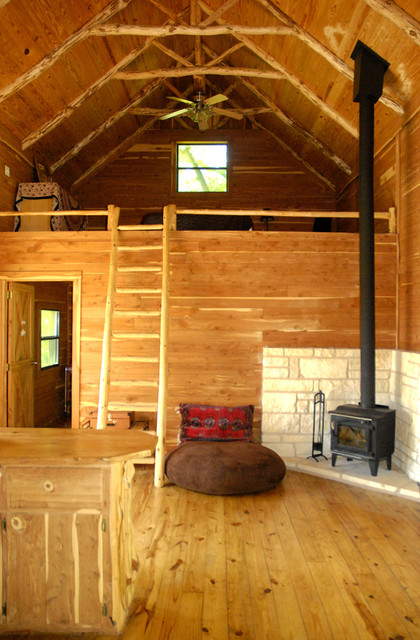 Beautiful cedar cabin eclectic living room austin for Cabins with lofts