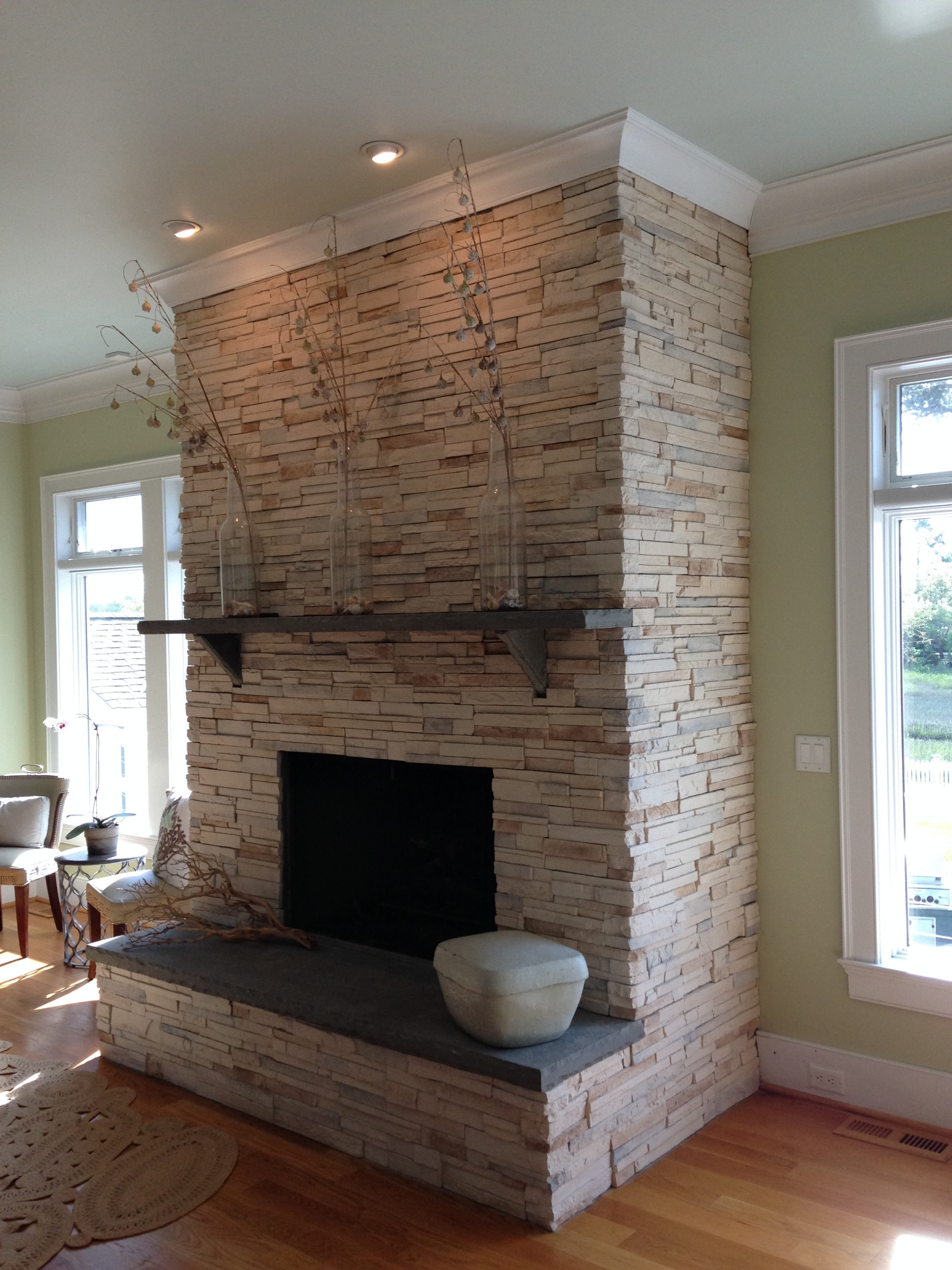 Contemporary Stone Fireplace Houzz