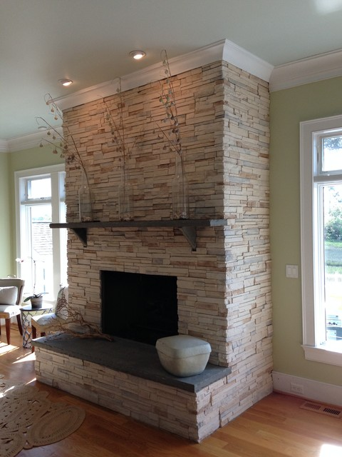 remarkable modern living room stone fireplace | Beautiful Modern / Contemporary Stone Fireplace ...