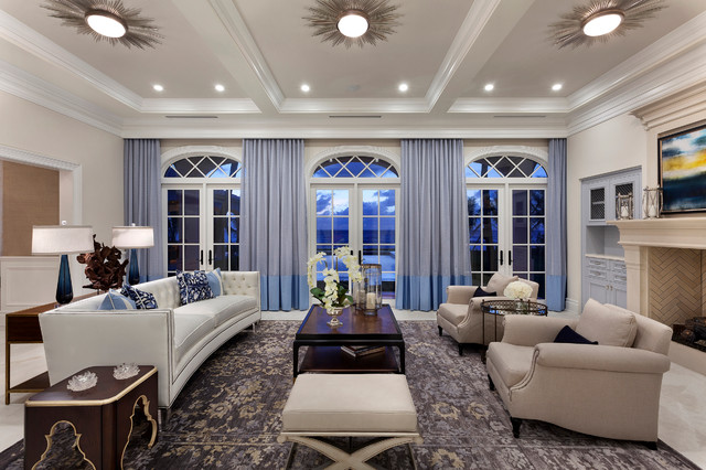 Beautiful new oceanside estate in delray beach for Beautiful traditional living rooms