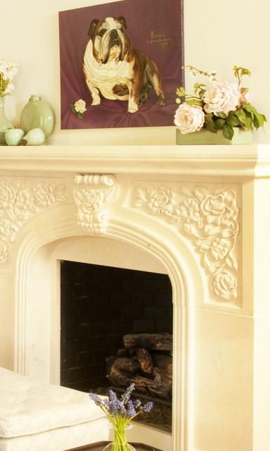 Beauty & the Beach Custom Fireplace beach-style-living-room