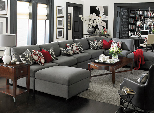 Gentil Beckham U Shaped Sectional By Bassett Furniture Contemporary Living Room