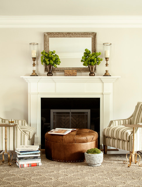 Living room - traditional living room idea in New York with white walls and a standard fireplace