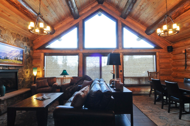 Beetle Pine Log Cabin In The Woods Of Colorado Rustic Living Room Denver By Mountain Log
