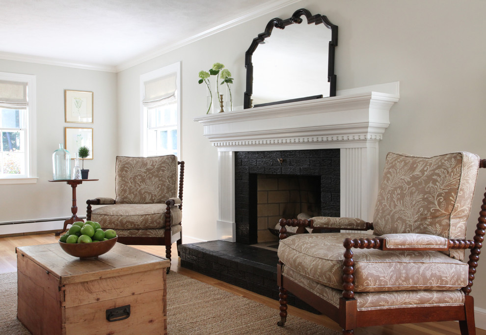 Inspiration for a transitional living room remodel in Boston