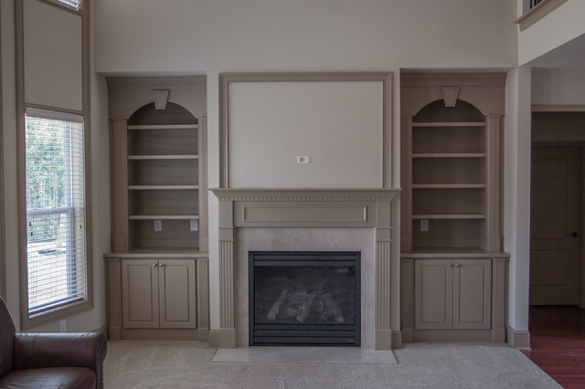 Beige Built Ins & Mantel traditional-living-room