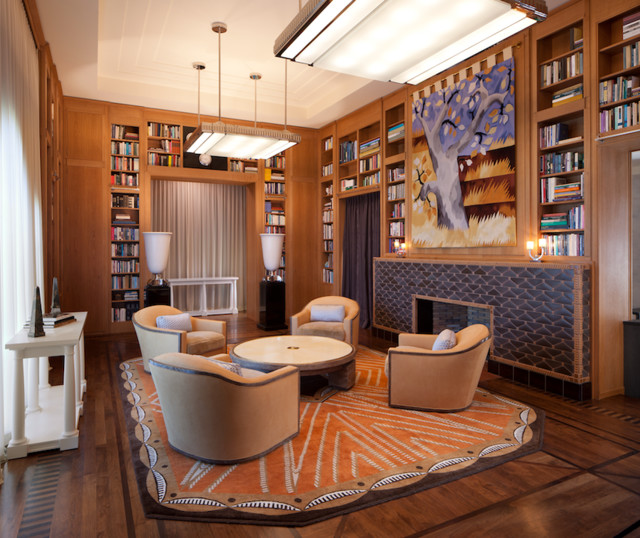 Bel Air 1940s Library Contemporary Living Room Los