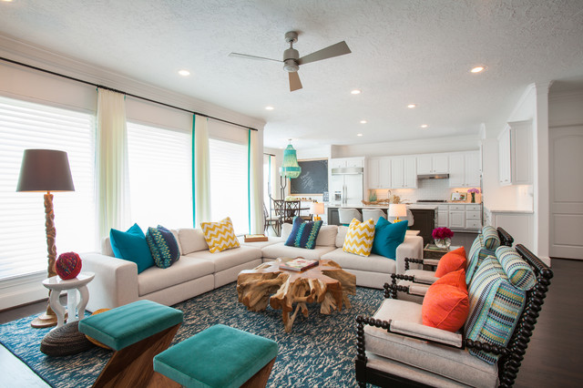 Example of a trendy living room design in Houston with white walls