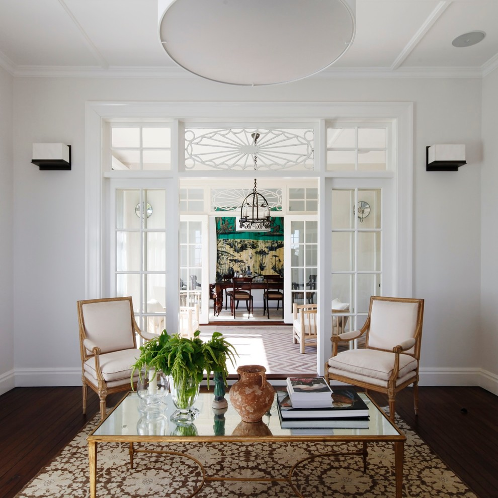 Inspiration for a large timeless dark wood floor living room remodel in Sydney with white walls