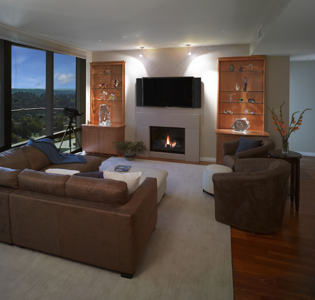 Bellevue Towers Built-Ins - Contemporary - Living Room - seattle - by Salmon Bay Woodworks