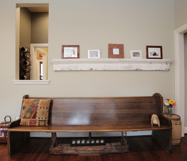 Bench Seating Detail Eclectic Living Room
