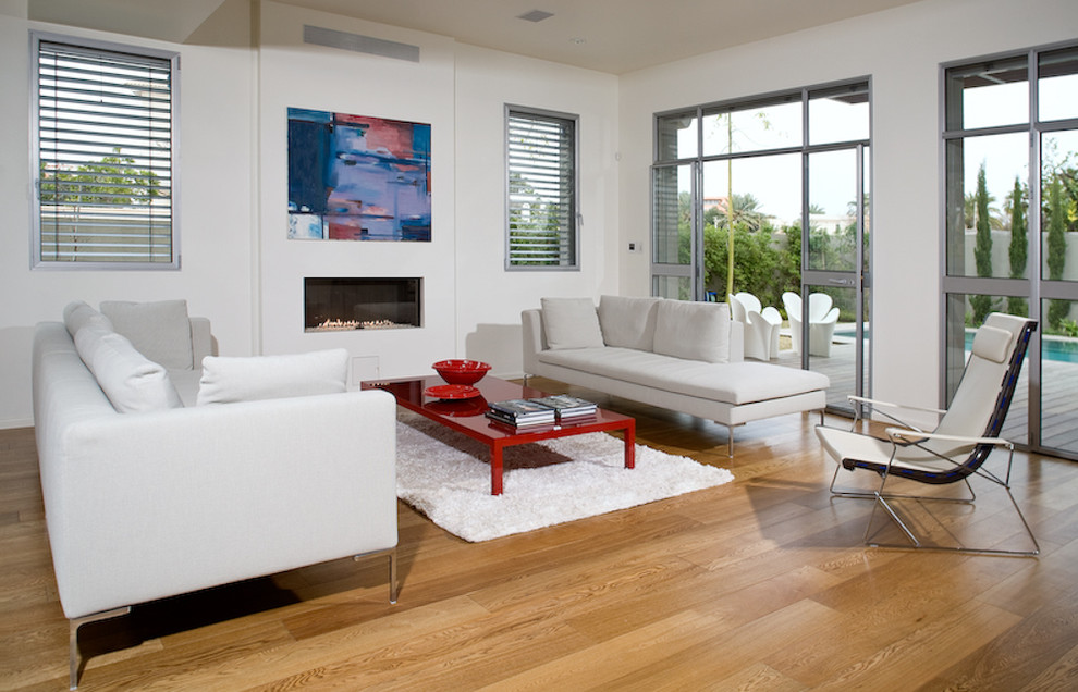 Living room - modern medium tone wood floor living room idea in Other with white walls and a ribbon fireplace