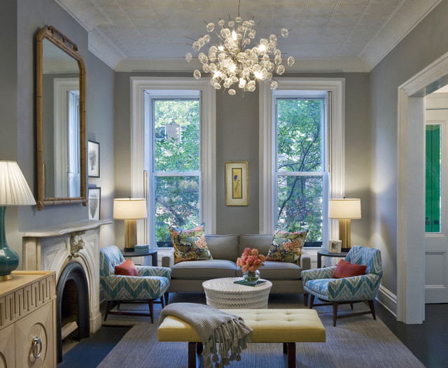 Example Of A Mid Sized Transitional Formal Living Room Design In New York With Gray