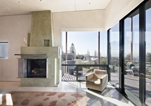 Berkeley Courtyard House contemporary-living-room