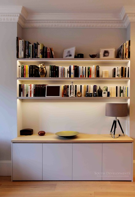 Bespoke tv unit cupboards shelving with integrated led for Modern living room shelving units