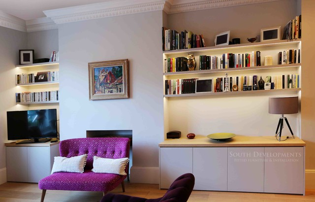 bespoke tv unit (cupboards & shelving) with integrated led lighting