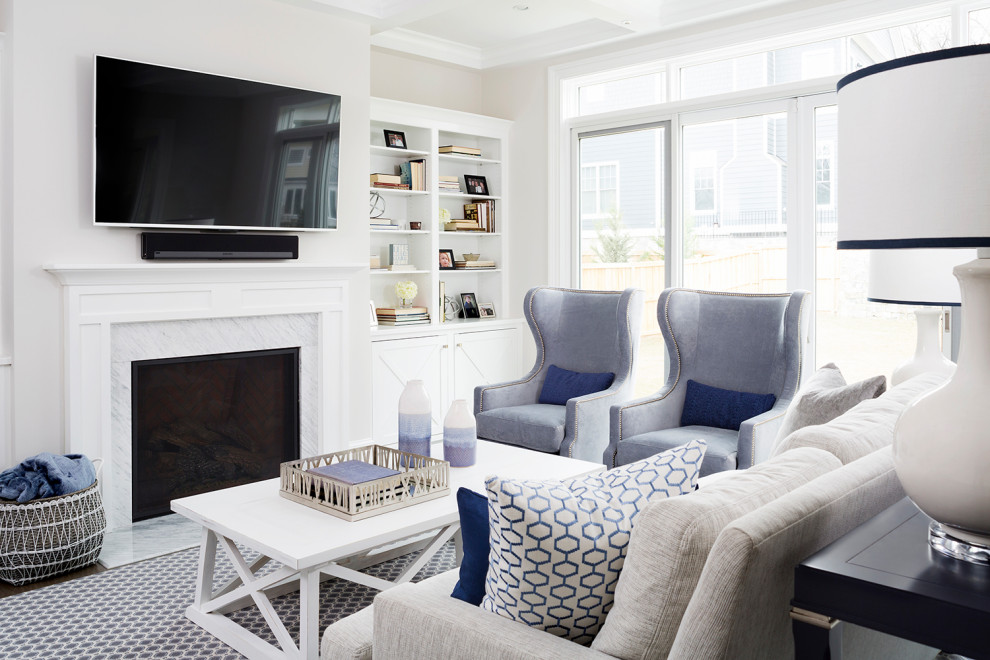 Mid-sized transitional open concept dark wood floor and blue floor living room photo in DC Metro with beige walls, a standard fireplace, a stone fireplace and a wall-mounted tv