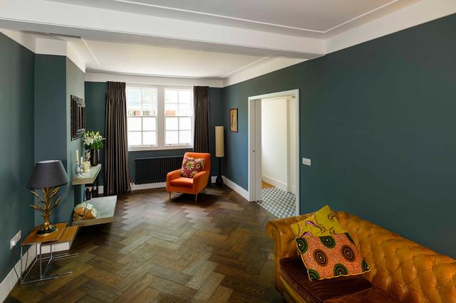 Bethnal Green Herringbone In Colour Walnut Oak Contemporary Living Room