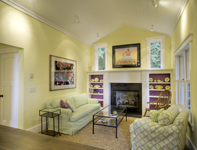 Living room - traditional living room idea in Seattle with yellow walls