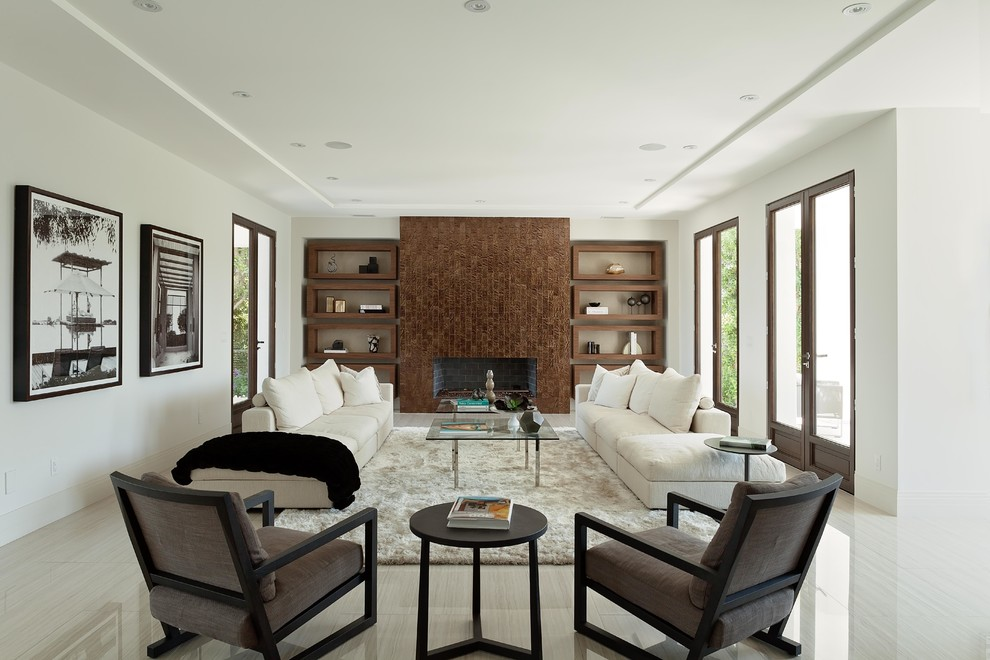 Example of a large trendy formal and enclosed living room design in Los Angeles with white walls, a ribbon fireplace and no tv