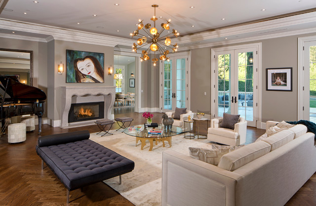 example of a transitional dark wood floor living room design in los angeles with gray walls - Mansion Living Room