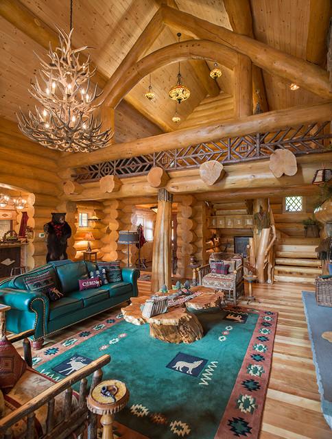 remarkable log cabin home living room | Big Moose, New York Log Home - Rustic - Living Room - New ...
