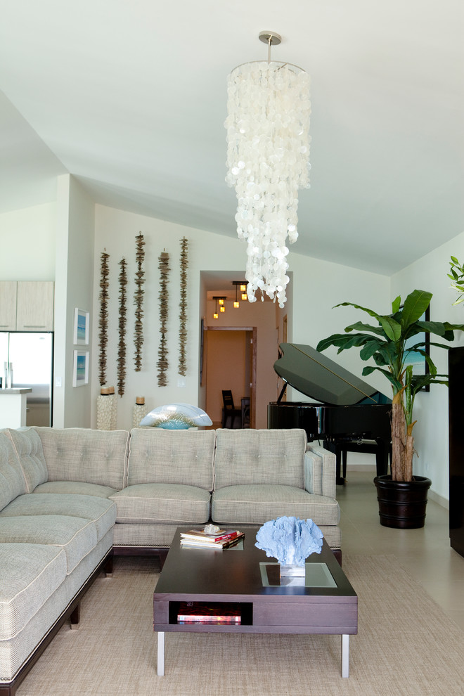Inspiration for a coastal open concept living room remodel in Other with a music area