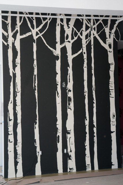 Birch tree mural for Birch trees wall mural