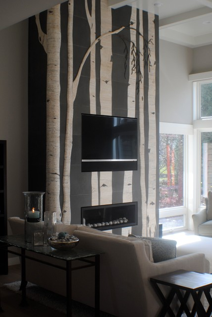 Birch Trees In A Birch Bay Residance. Contemporary Living Room
