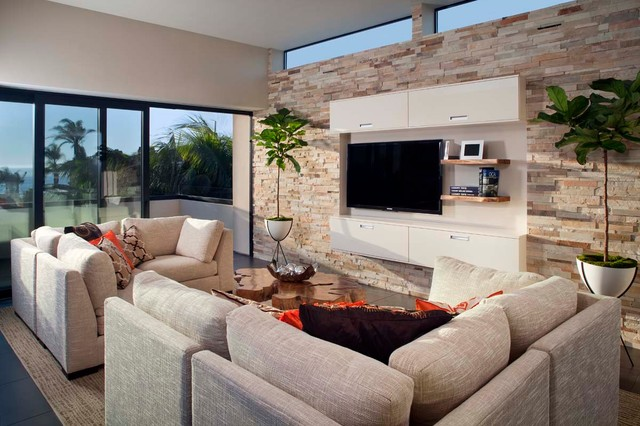 lcd wall designs living room. Large modern open concept family room idea in San Diego with beige walls  and a wall Lcd Wall Houzz