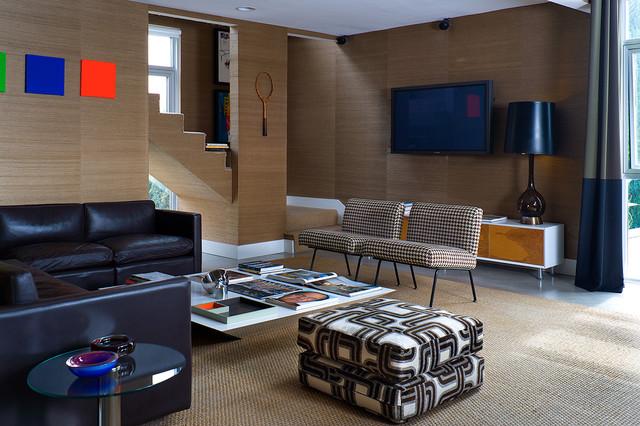 Black And Beige Midcentury Living Room New Orleans
