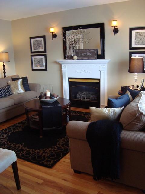 Black Beige Living Room Eclectic