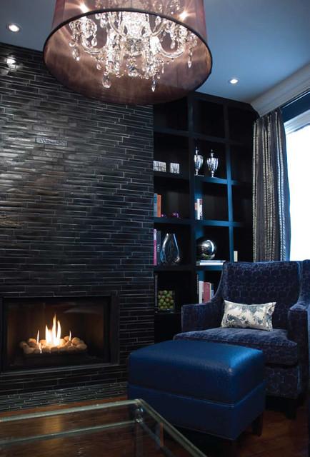 Black Navy Elegance Eclectic Living Room Toronto