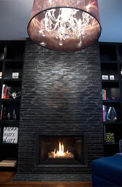 Black & Navy Elegance eclectic-living-room