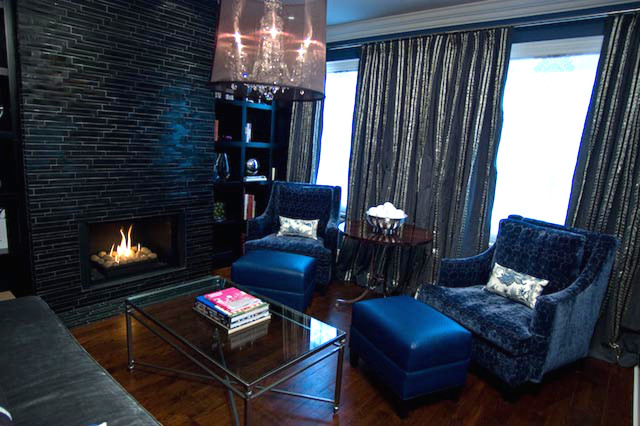 Black & Navy Elegance eclectic living room
