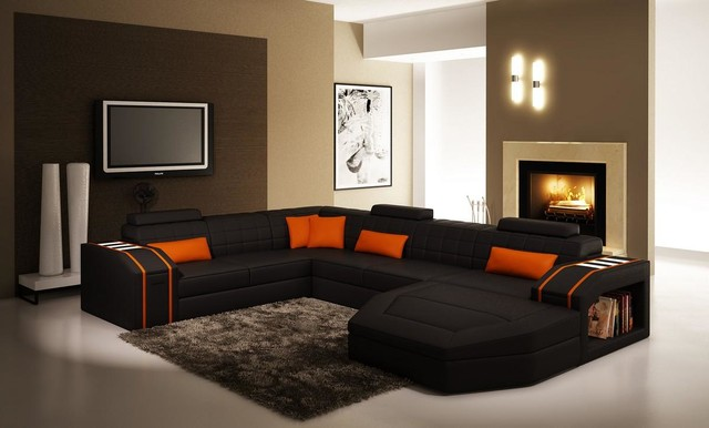 Black And Orange Sectional Sofa With Chaise Modern Living Room