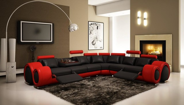 Modern Living Room Red And Black black and red sectional sofa with adjustable headrest - modern