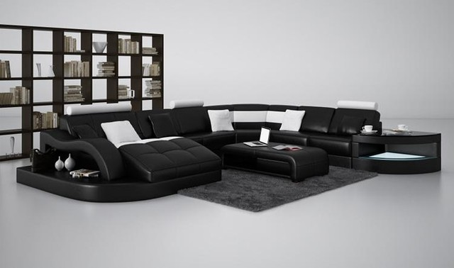 Black And White Bonded Leather Sectional Sofa With Chaise