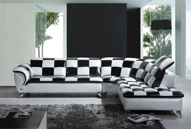 Charmant Black And White Checkered Leather Sectional Sofa   Modern ...