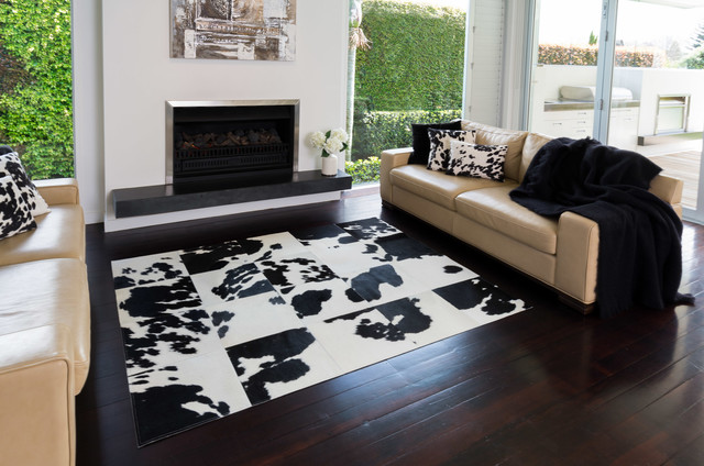 Black And White Cowhide Patchwork Rugs Contemporary