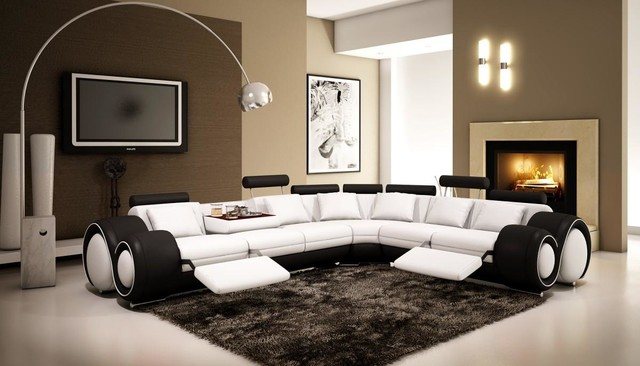black and white leather sectional sofa with adjustable headrests