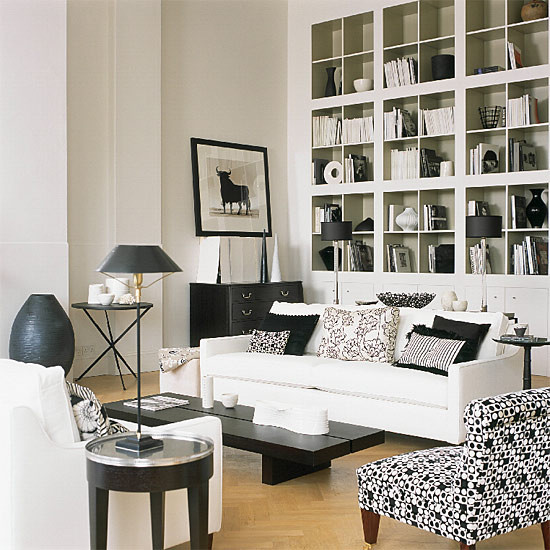Black And White Living Room With Yellow Accents: Black & White Living Room